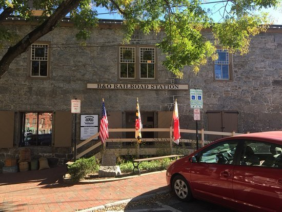 the front of the B&O Ellicott City Station Museum on a beautiful fall day