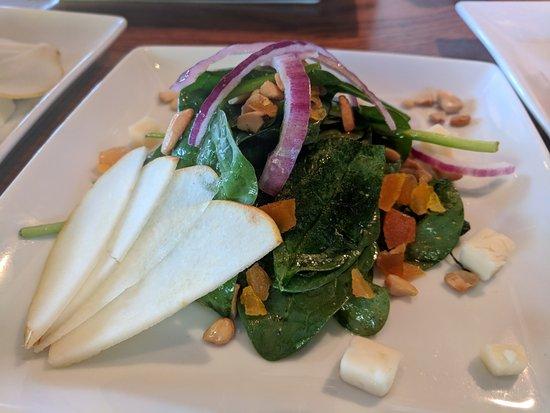 Santa Ana Pueblo, Nuevo Mexico: Apricot Spinach Salad Cashews • Spinach • Pear • Red Onion • Taleggio • Brown Sugar Vinaigrette