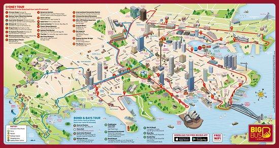 Big Bus Sydney Map 2018 Picture of Big Bus Sydney Sydney