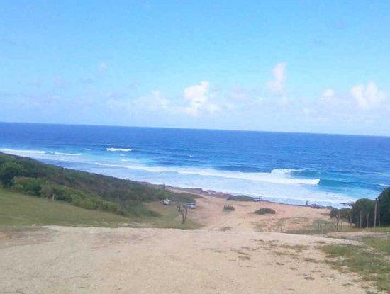 Le Moule, Guadeloupe : Les vagues sont très longues et étendues