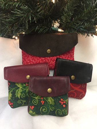Cornwall, NY: Leather Clutches designed with Holiday Fabrics by The Elizabeth Collection