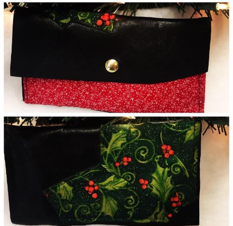 Cornwall, NY: Black Italian Leather Clutch with a Festive Holiday Pattern Designed by Elizabeth Moore