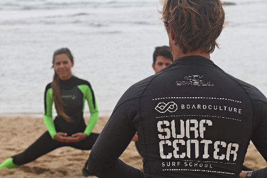 Ericeira, Portugal: Warming up and stretching before any surf session is a must...