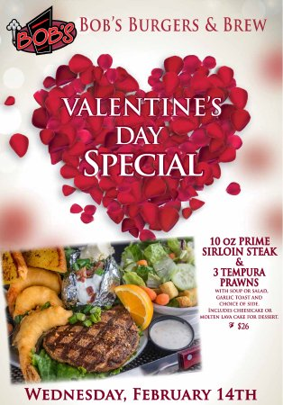 Burlington, WA: Relax with us next Wednesday for our Valentine's Day Dinner Special!