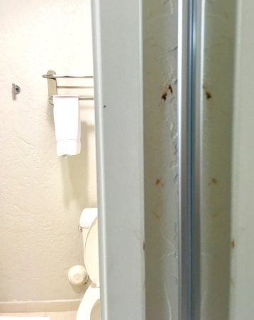 First impression: Dirty wall, crooked towel rack over toilet ...