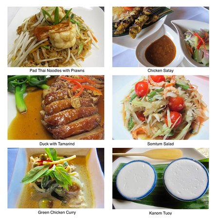 West Malling, UK: A selection of our popular made to order dishes, using authentic ingredients from Thailand.