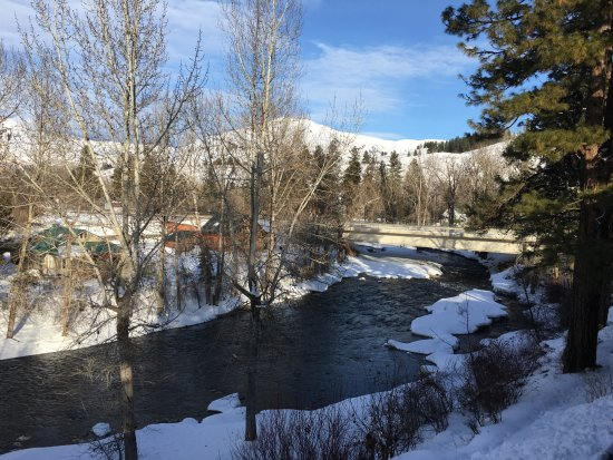 View from the 2nd floor balcony of the Twisp River