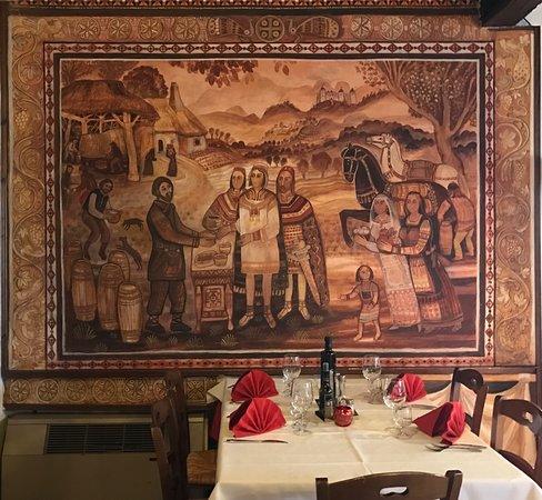 Sarmede, Italy: Sala da panzo con affresco realizzato da Stephan Zavrel