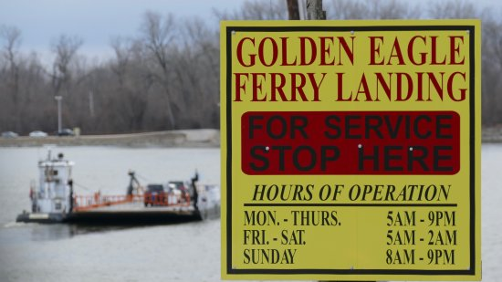 Golden Eagle, IL: ferry with sign