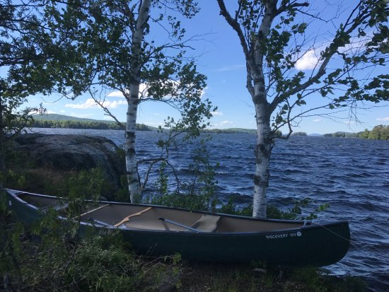 Moosehead Lake: We rented this canoe and paddled to this small island in the lake.