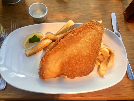 Nottinghamshire, UK: Breaded plaice and chips (no peas!)