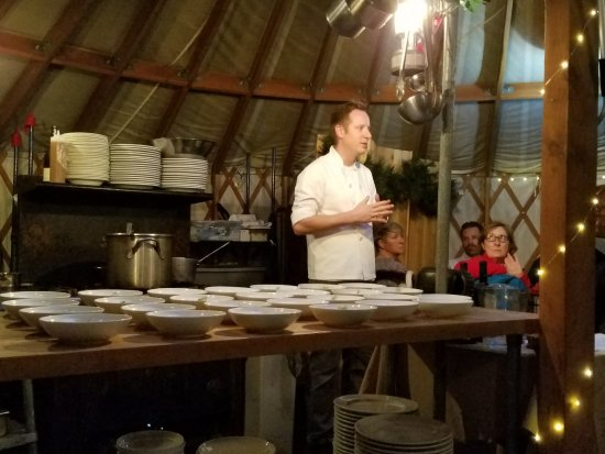 The Yurt at Solitude: The chef in the kitchen of the yurt