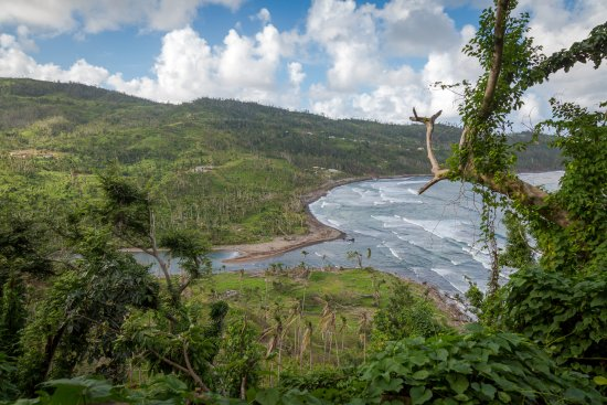 Marigot, Dominica: Overview of hotel and bay - post Hurricane Maria/Jan. 2018