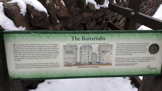 Yorkshire Dales National Park, UK: The info board explains origins of the Buttertubs nicely