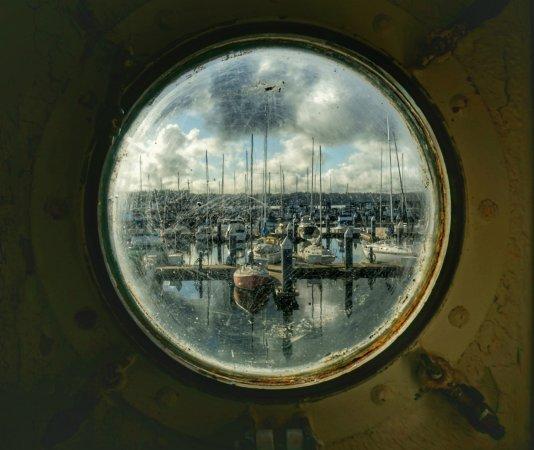 USS Turner Joy Museum Ship: Marina through a porthole