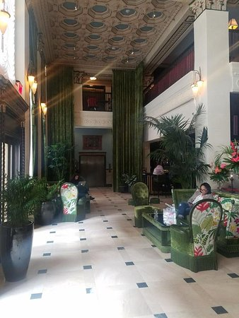 Lobby With Green Velour Drapes That Remind Me Of The Gone With The