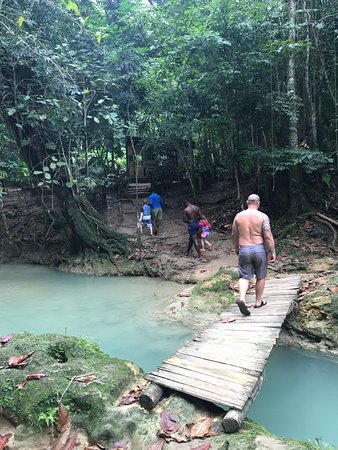 Cruise Shore Excursions Jamaica: walk up to the main falls.