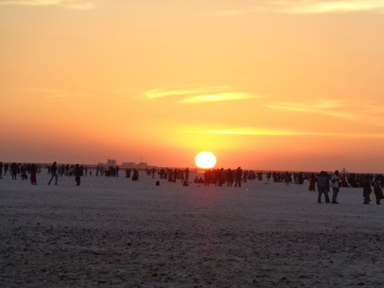 Dhordo, India: sunset at white sand desert-1