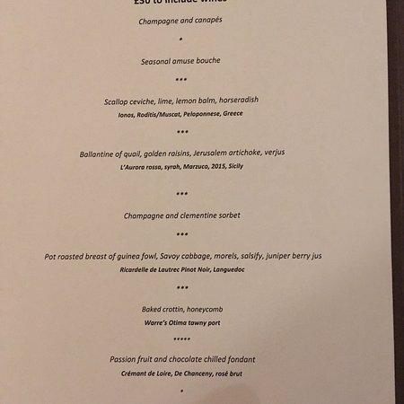Teffont Evias, UK: Valentines taster menu