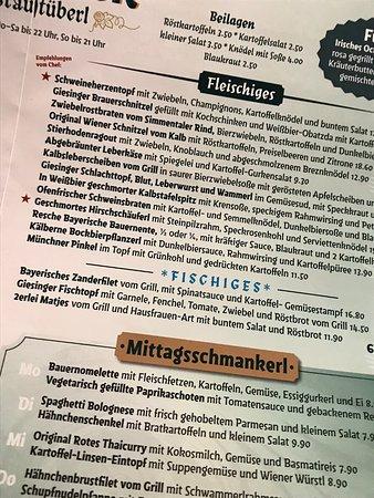 Auzug Aus Der Speisekarte Picture Of Giesinger Braustuberl Munich Tripadvisor