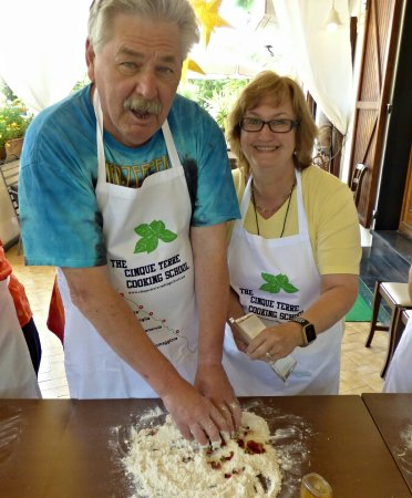 "Cinque Terre Cooking School: Making the wonderful ""cake"" . May 2017"