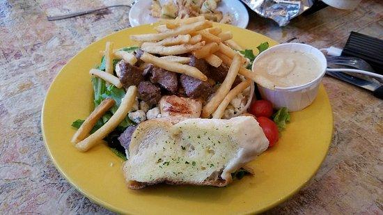 Belle Vernon, PA: Tomato Basil Soup, SMALL! Zucchini, Chicken Steak Salad.  GREAT!
