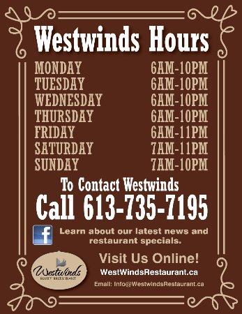 Pembroke, Kanada: Westwinds hours of operation