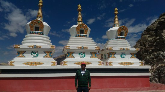 Thiksey, India: Photo op inside Thikse Gompa