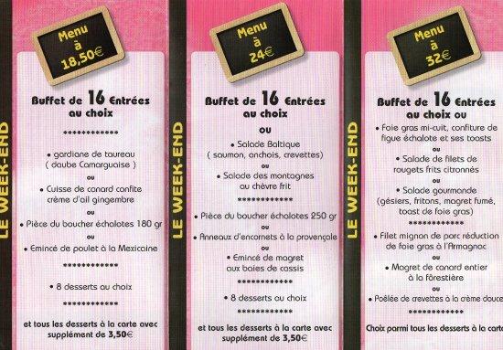 Saint-Sauveur, Frankreich: Les menus et tarifs.