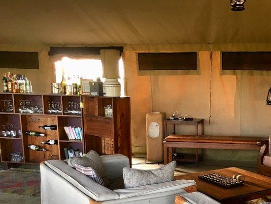 Olakira Camp, Asilia Africa: Lounge area in the mess tent.