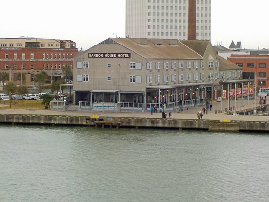Harbor House Hotel & Marina at Pier 21: photo from ship - front corner above restaurant is room 202