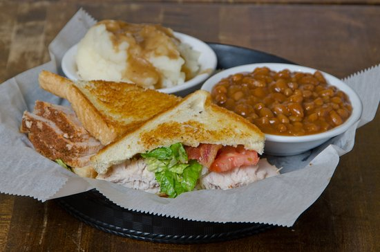 Momma's Mustard, Pickles & BBQ: Turkey Club with baked beans and mashed potatoes.