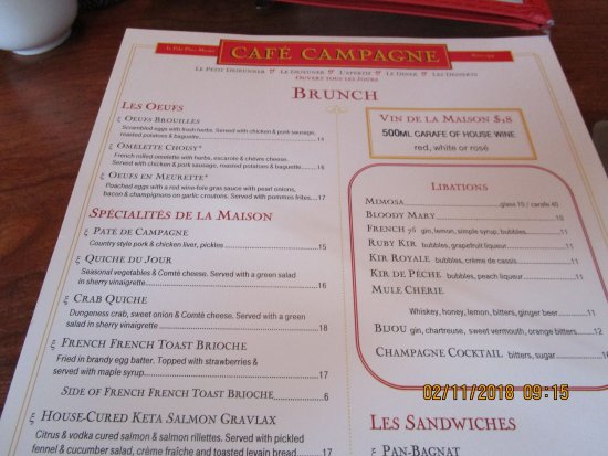 Cafe Campagne: Menu