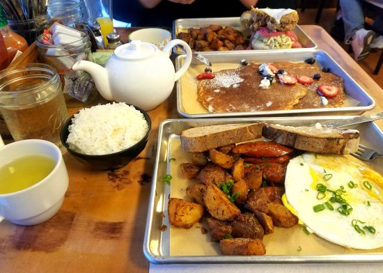 San Bruno, CA: Crispy Fried chicken sandwich, Mochi pancakes and Portuguese sausage and eggs
