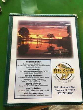 Fish camp lake eustis tavares fotos n mero de tel fono for Fish camp menu