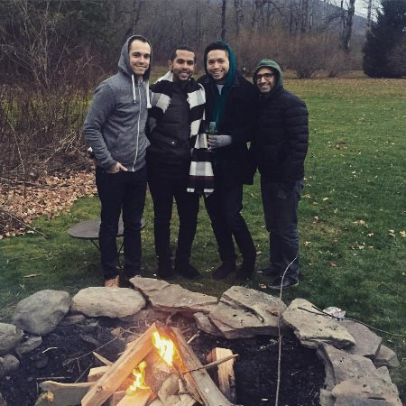 Roxbury, NY: Enjoying the grounds! The fire pit was perfect to fight the cold!