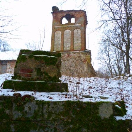 Novo-Moskovskoye, Rosja: Кирха Першкен и руины памятника