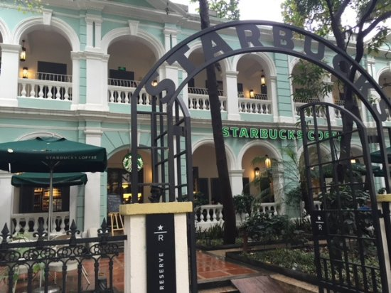 The amazing historical building housing the starbucks