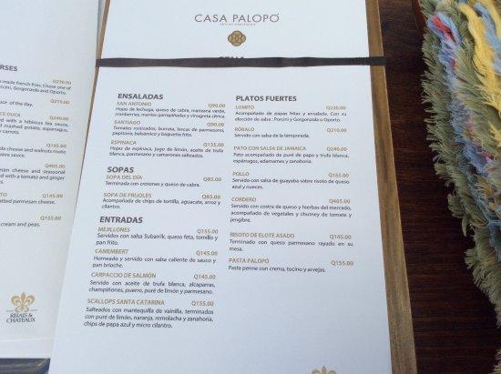 Santa Catarina Palopo, Guatemala: Rest. Casa Palopo - Menu