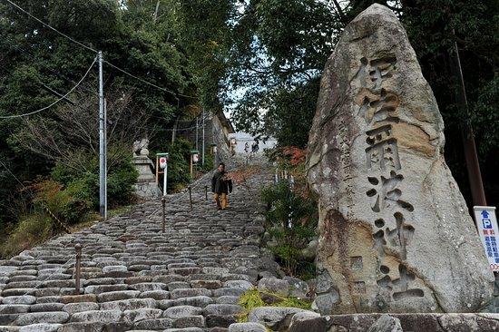 伊佐爾波神社, 急な傾斜の石段