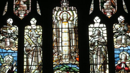 Old Colwyn, UK: The great East Window, depicting the Transfiguration of Our Lord