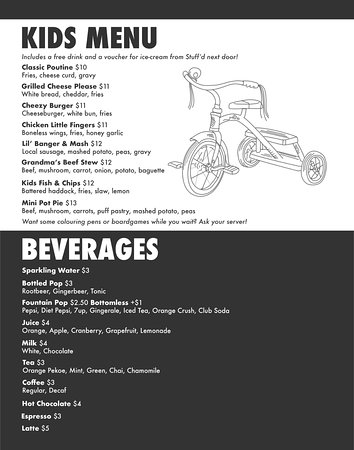 Lakefield, Canada: 2018 Kids Menu & Beverages