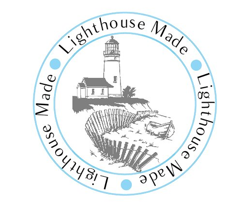 Manchester, ME: Our Lighthouse-Made label for all of our handmade products.