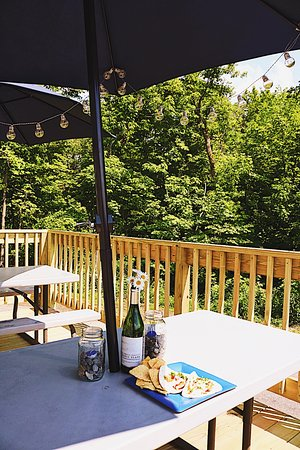 Manchester, ME: Outdoor deck seating.