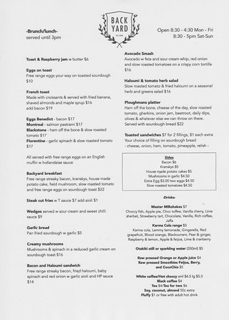 Plimmerton, New Zealand: summer menu (subject to change)