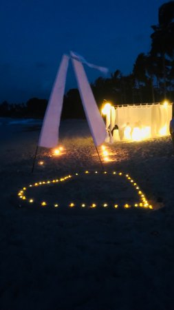 Banyan Tree Bintan: a photo of the proposal at the beach front set up for us