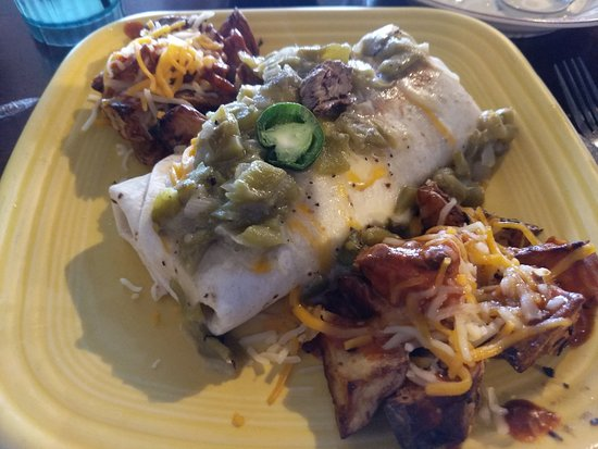 Yukon, OK: Breakfast burrito and potatoes