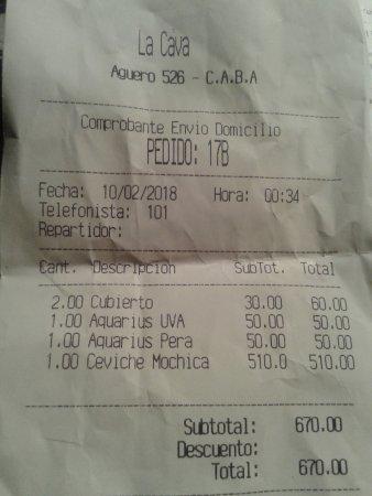 La Cava del Abasto- Ticket de la Cuenta- Bs.As. 2018.