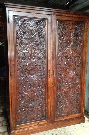 Bali Boo Furniture Store: Intricately Carved Teak Wood Closet