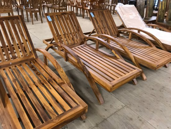 Beau Bali Boo Furniture Store: Teak Wood Loungers With Cushions